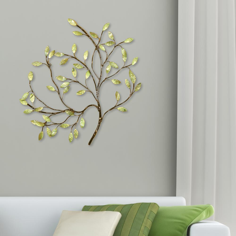 Oil Rubbed Bronze And Green Tree Metal Work Wall Decor