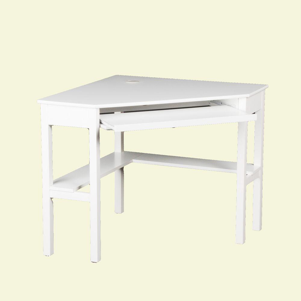 Unbranded 35 in. Corner White Computer Desks with Keyboard Tray-HO35 -  The Home Depot