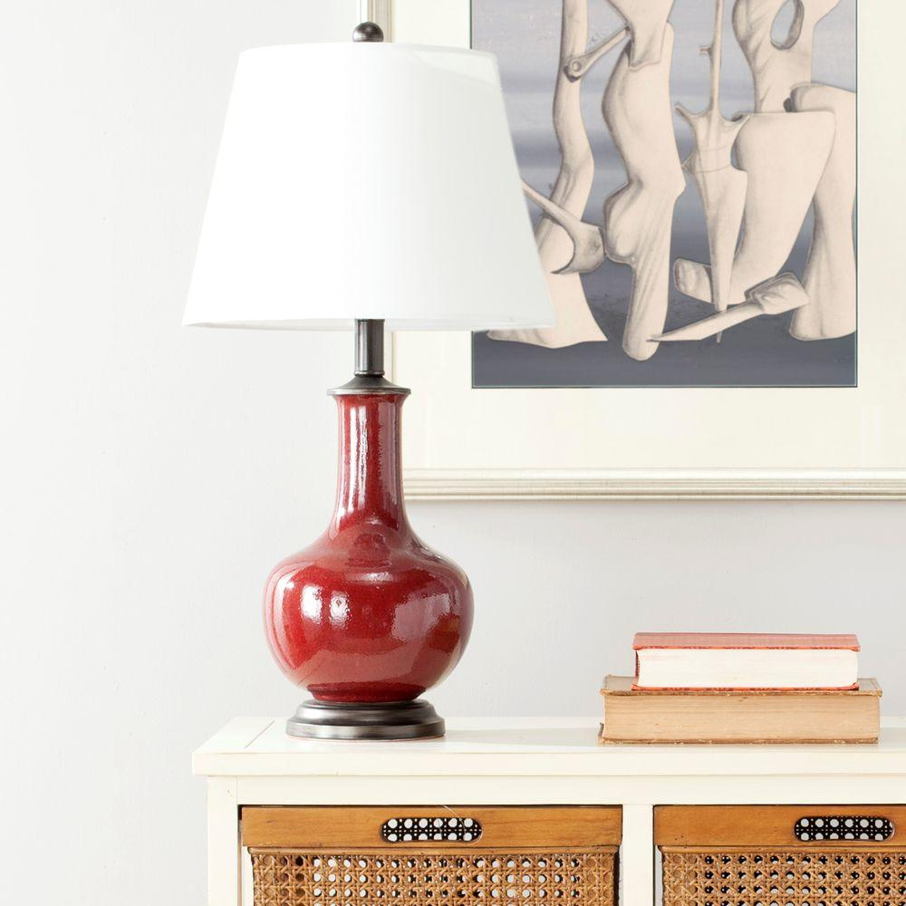 Red Table Lamp With White Shade Set Of 2