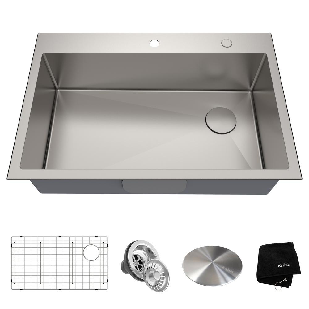 Loften Undermount/Drop-In Stainless Steel 33 in. 1-Hole Single Bowl Kitchen Sink