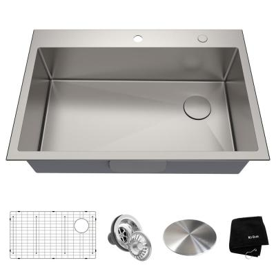 Loften Undermount/Drop-In Stainless Steel 33 in. 1-Hole Single Bowl Kitchen Sink