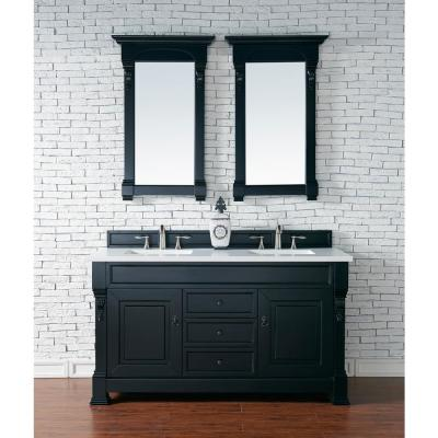 Brookfield 60 in. W Double Bath Vanity in Antique Black with Quartz Vanity Top in Classic White with White Basin