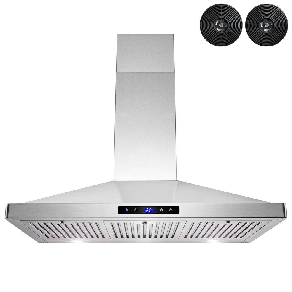 AKDY 36 in. Convertible Kitchen Wall Mount Range Hood in Stainless Steel with LEDs, Touch Control and Carbon Filters, Silver was $282.45 now $179.99 (36.0% off)