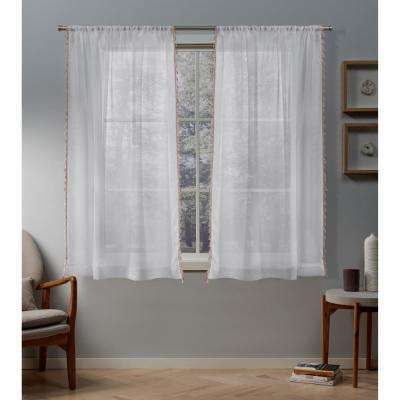 Tassels 54 in. W x 63 in. L Sheer Rod Pocket Top Curtain Panel in Blush (2 Panels)