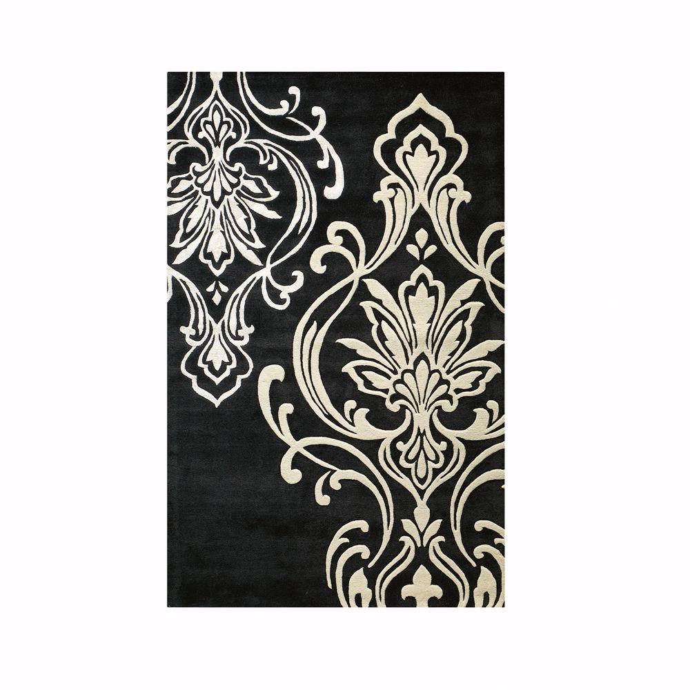 Home Decorators Collection Romantica Black 5 ft. 3 in. x 8 ft. 3 in. Area Rug