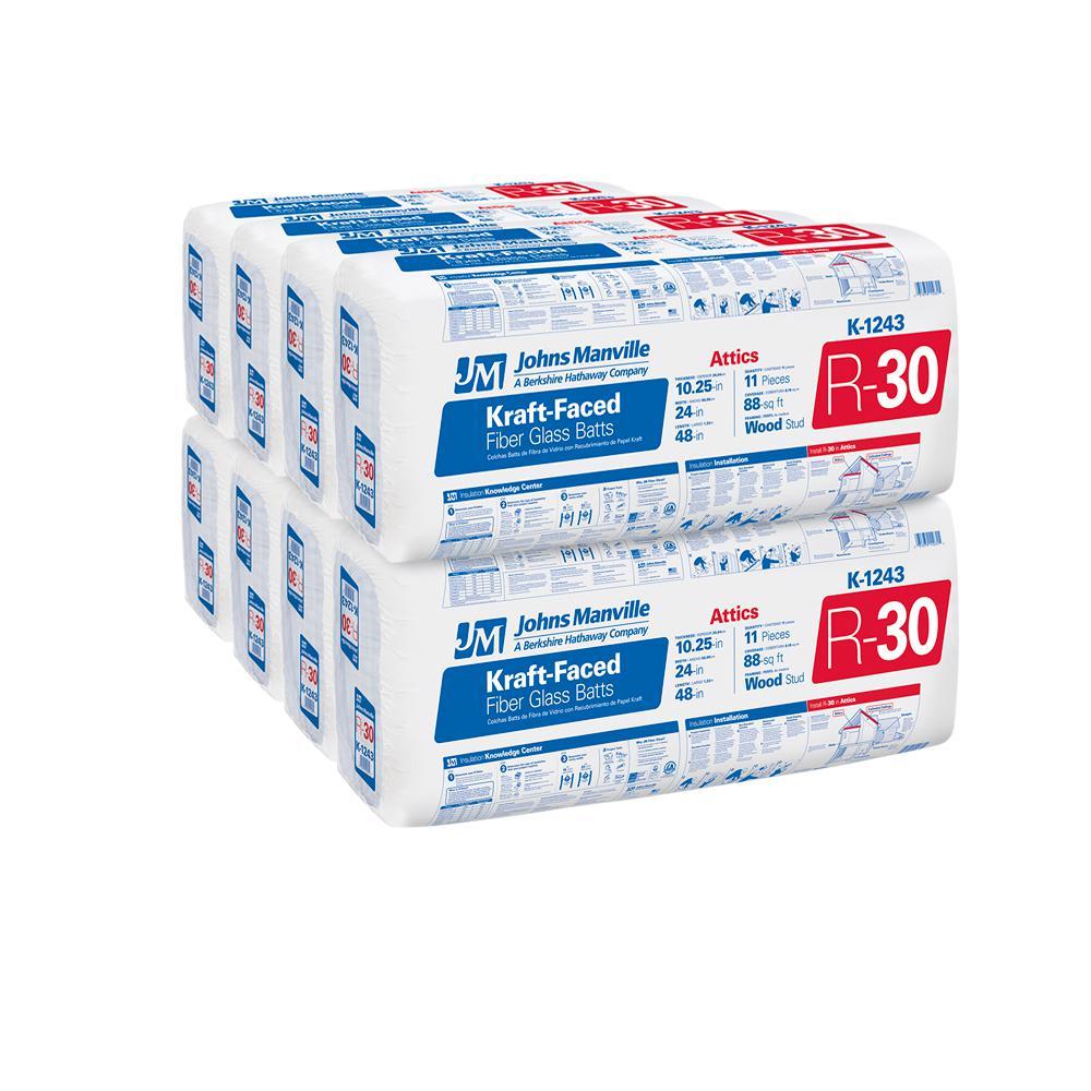 R-30 Kraft Faced Fiberglass Insulation Batt 24 in. x 48 in. (8-Bags)