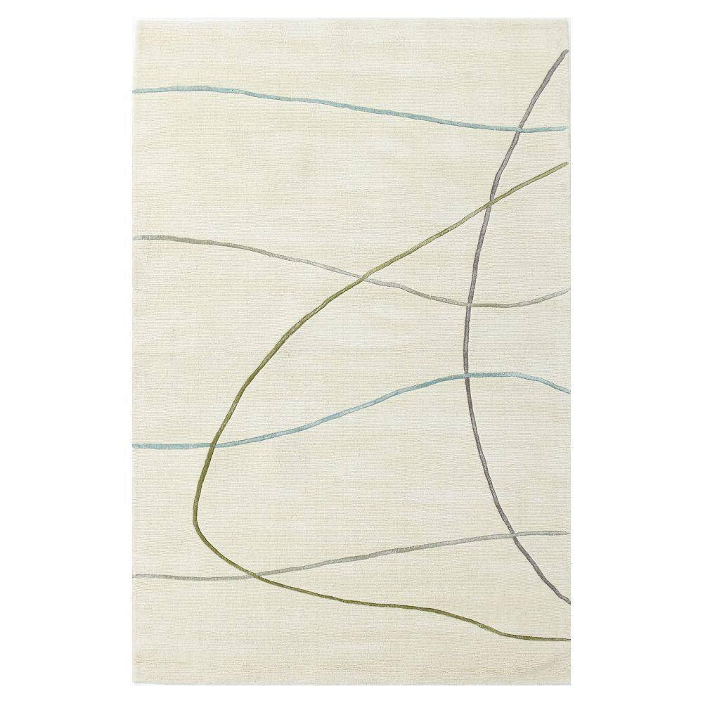 Kas Rugs Casual Lines Ivory 5 ft. x 8 ft. Area Rug
