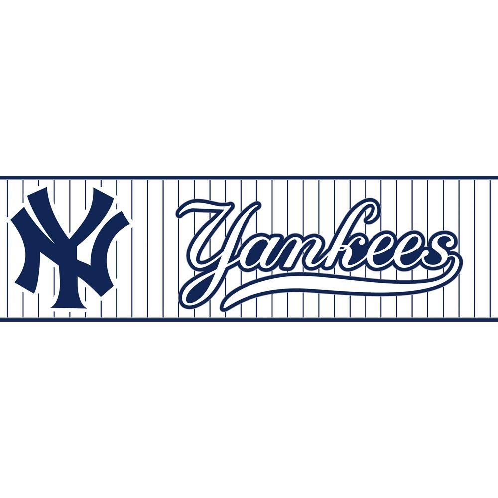 Major League Baseball Boys Will Be Boys II NY Yankees Pinstripe Wallpaper Border