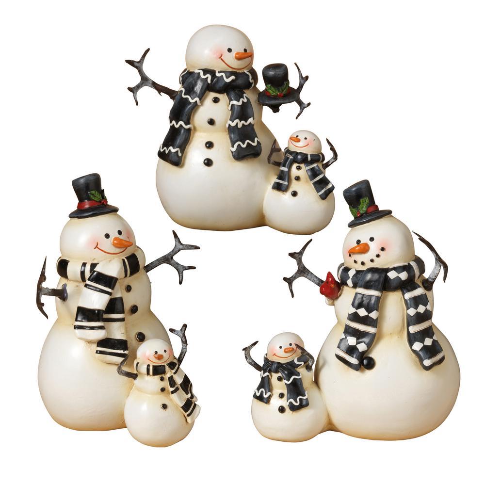 S/3 Asst 6.2 in. H Resin Snowmen