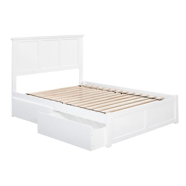Madison Full Platform Bed with Flat Panel Foot Board and 2-Urban Bed Drawers in White