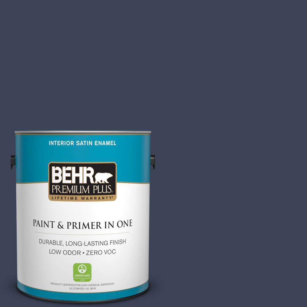 BEHR Premium Plus 1-gal. #590F-7 Peaceful Night Zero VOC Satin Enamel Interior Paint
