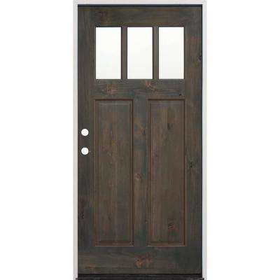 36 in. x 80 in. Craftsman Stained Ash Alder Right Hand Inswing Wood Prehung Front Door with 6 Wall Series