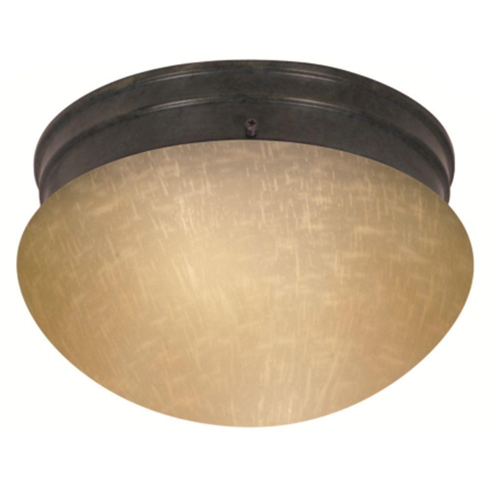 Tony 2-Light Mahogany Bronze Flush Mount