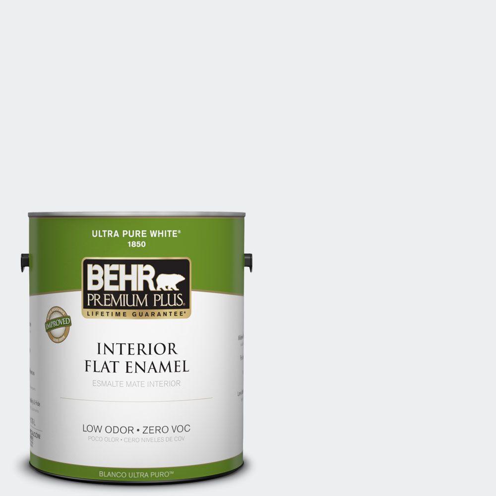 BEHR Premium Plus 1-gal. #PWN-16 Day Spa Zero VOC Flat Enamel Interior Paint-DISCONTINUED
