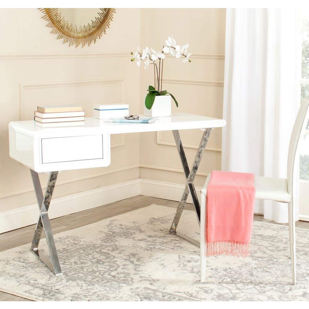 Safavieh Hanover White and Chrome Desk