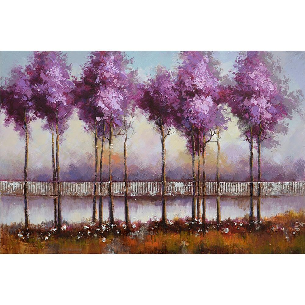 Yosemite Home Decor 31 in. x 47 in. Lilac Reflections I Hand Painted Contemporary Artwork