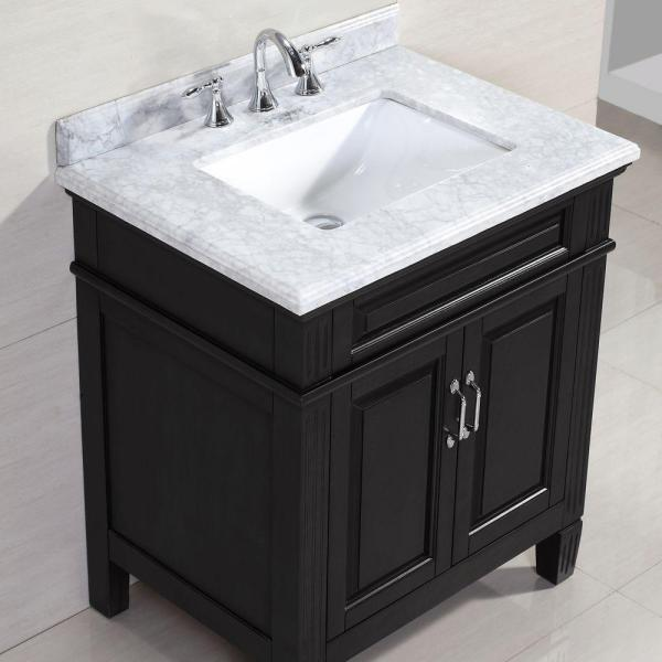 Home Decorators Collection Blaine 30 In Vanity In Black With Marble Vanity Top In Carrara White Bfblaine30 The Home Depot
