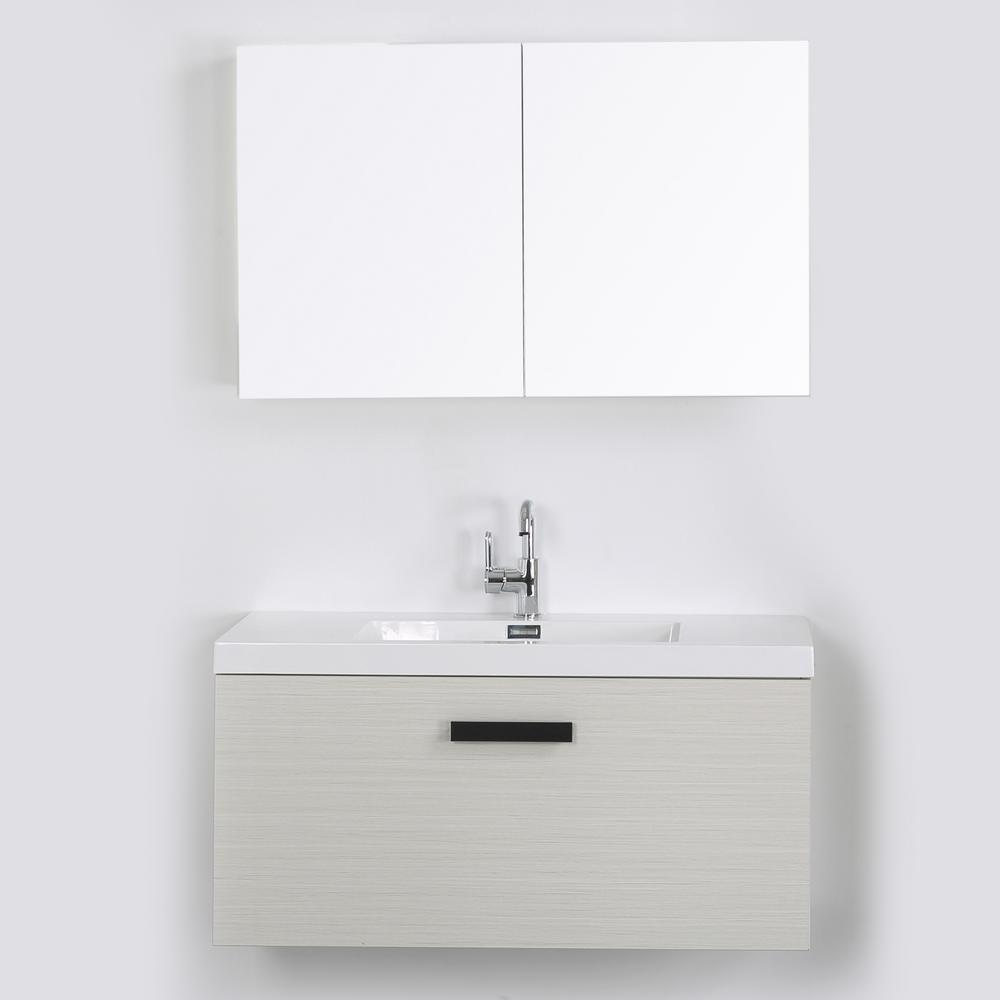 Streamline 39.4 in. W x 18.3 in. H Bath Vanity in Gray with Resin Vanity Top in White with White Basin and Mirror