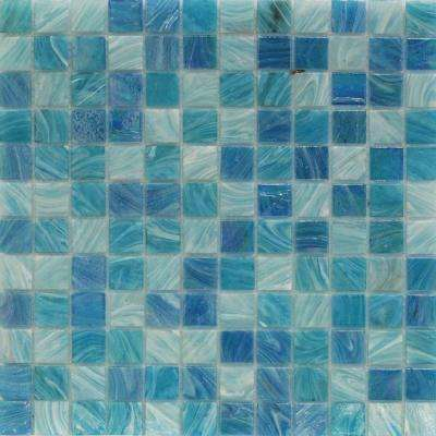 Aqua Blue Sky Mesh-Mounted Squares 11-3/4 in. x 12 in. x 5 mm Glass Mosaic Tile