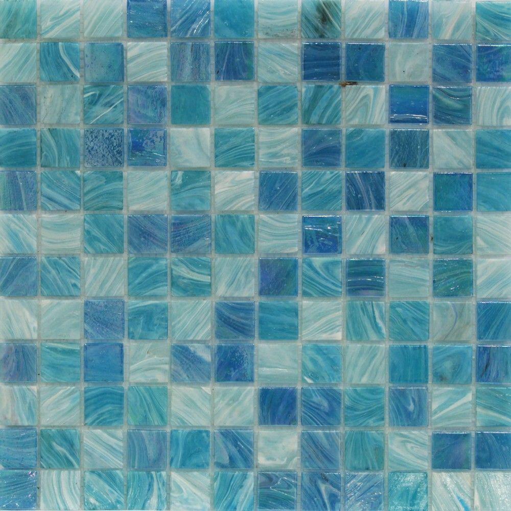 Splashback Tile Aqua Blue Sky Mesh-Mounted Squares Glass Floor and ...