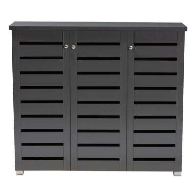 Adalwin 38 in. H x 44 in. W 20-Pair Dark Gray Wooden Shoe Storage Cabinet
