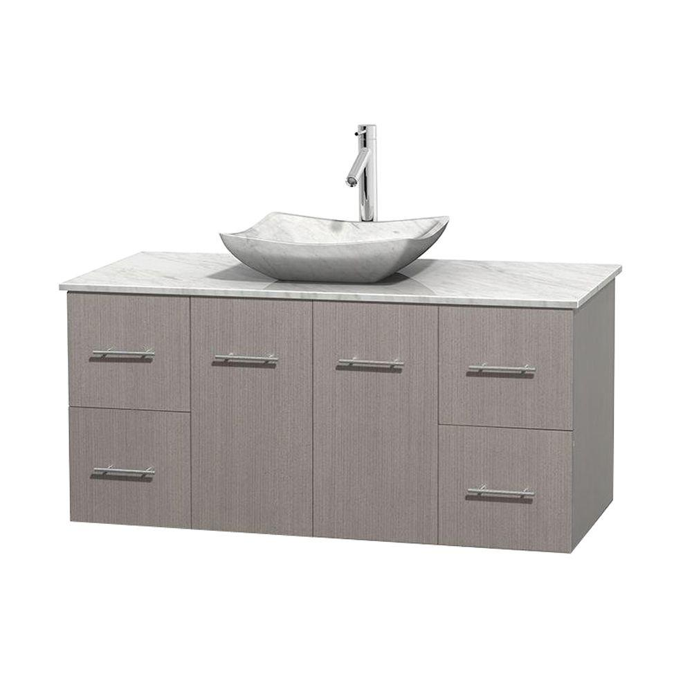 Wyndham Collection Centra 48 in. Vanity in Gray Oak with Marble Vanity Top in Carrara White and Sink