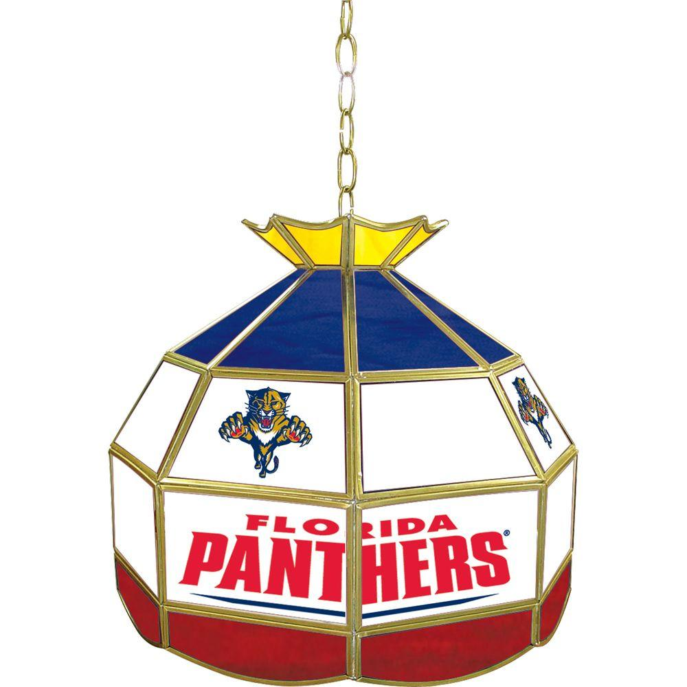 Trademark NHL Florida Panthers 16 in. Gold Hanging Tiffany Style Billiard Lamp