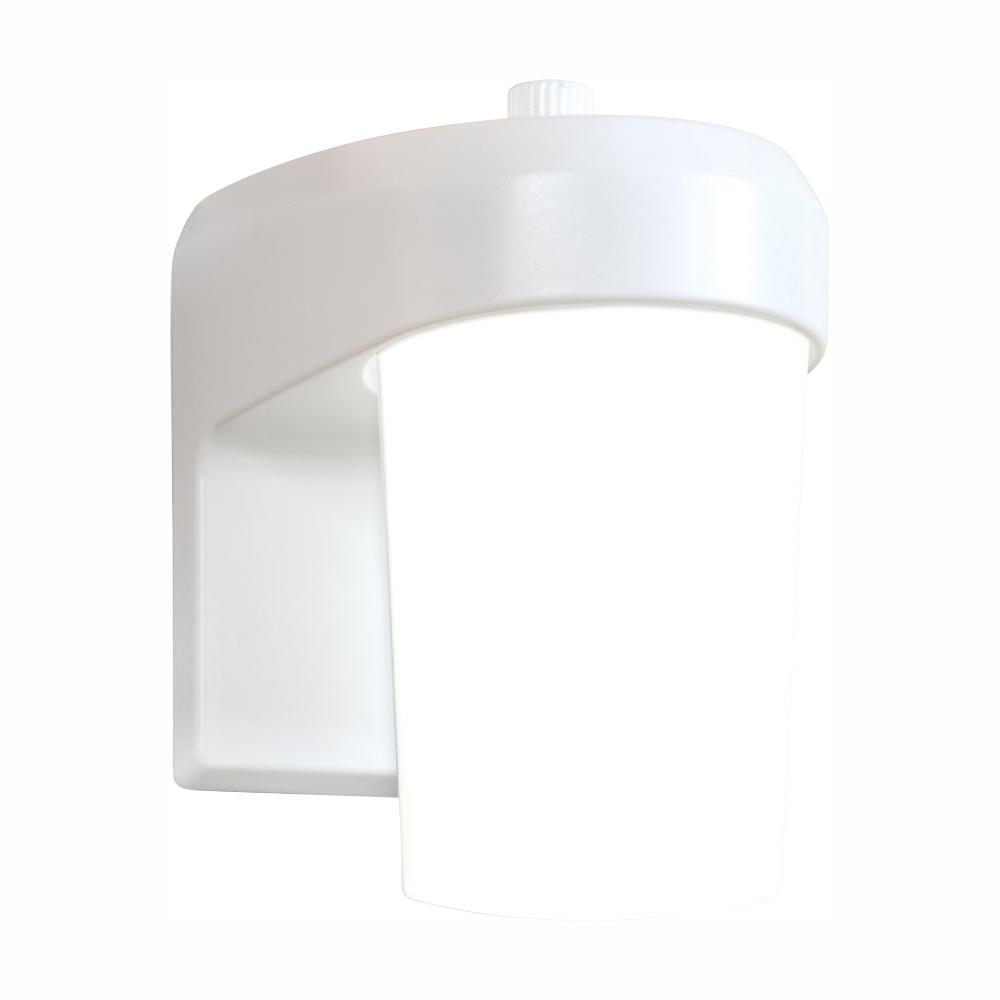 Halo FE White Outdoor Integrated LED Entry and Patio Wall Lantern Sconce with Dusk to Dawn Photocell Sensor