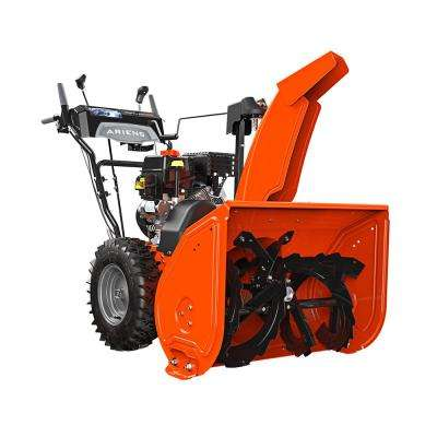 2-stage electric start gas snow blower with auto-turn steering