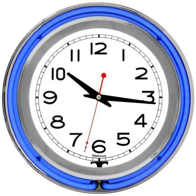 3 in. x 14 in. Blue Double Ring Neon Clock
