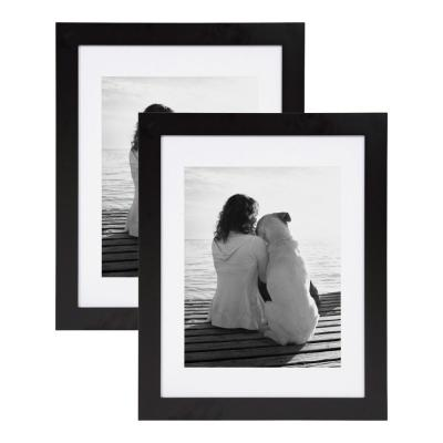 Museum 14 in. x 18 in. Matted to 11 in. x 14 in. Black Picture Frame (Set of 2)