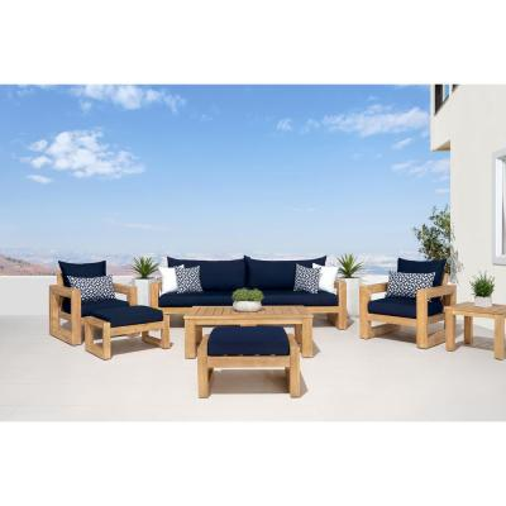 Benson 8-Piece Wood Patio Conversation Set with Sunbrella Navy Blue Cushions