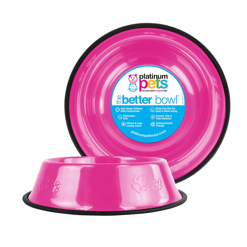 Platinum Pets Embossed Non-Tip Stainless Steel Cat/Bowl, Bubble Gum Pink