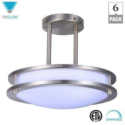 75-Watt Equivalent Brushed Nickel Cool White 12 in. Dimmable Integrated LED Semi-Flushmount (6-Pack)