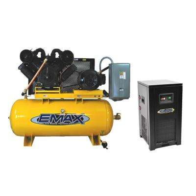 Industrial PLUS Series 120 Gal. 25 HP 3-Phase 2-Stage Stationary Electric Air Compressor with 144 CFM Dryer