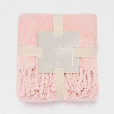 Dusty Pink Twisted Fringe Throw