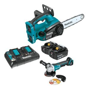 Makita 18-Volt X2 (36V) LXT Lithium-Ion Cordless 12 inch Chainsaw Kit, 5.0Ah and Brushless Angle Grinder by Makita