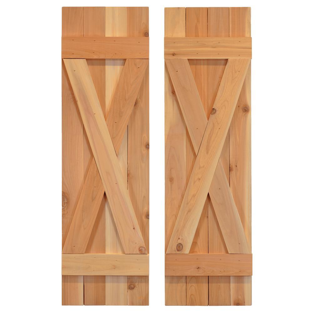 14 in. x 60 in. Cedar Board and Batten X-Shutters Pair Dirty Blonde