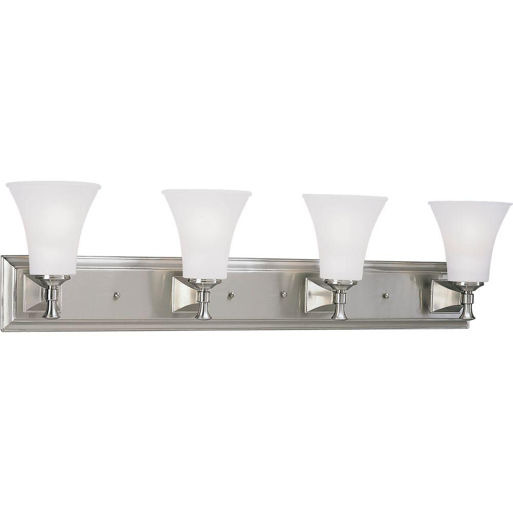 Fairfield Collection 4-Light Brushed Nickel Vanity Light with Opal Etched Glass