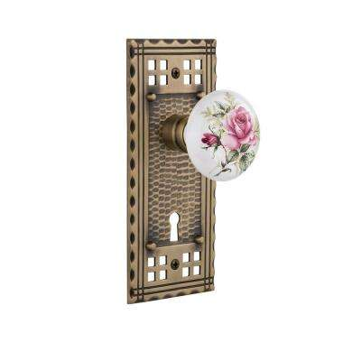 Craftsman Plate with Keyhole Double Dummy White Rose Porcelain Door Knob in Antique Brass
