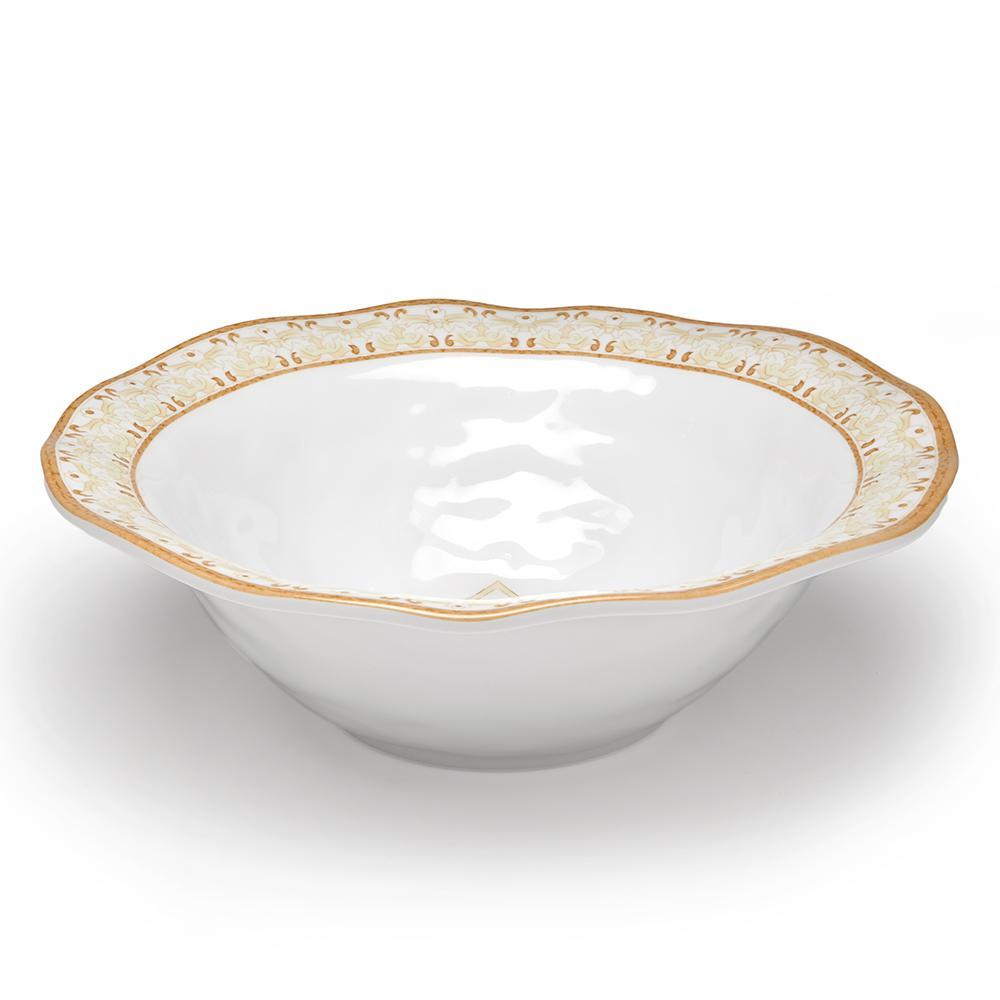 Talavera 12 in. Beige Melamine Serving Bowl