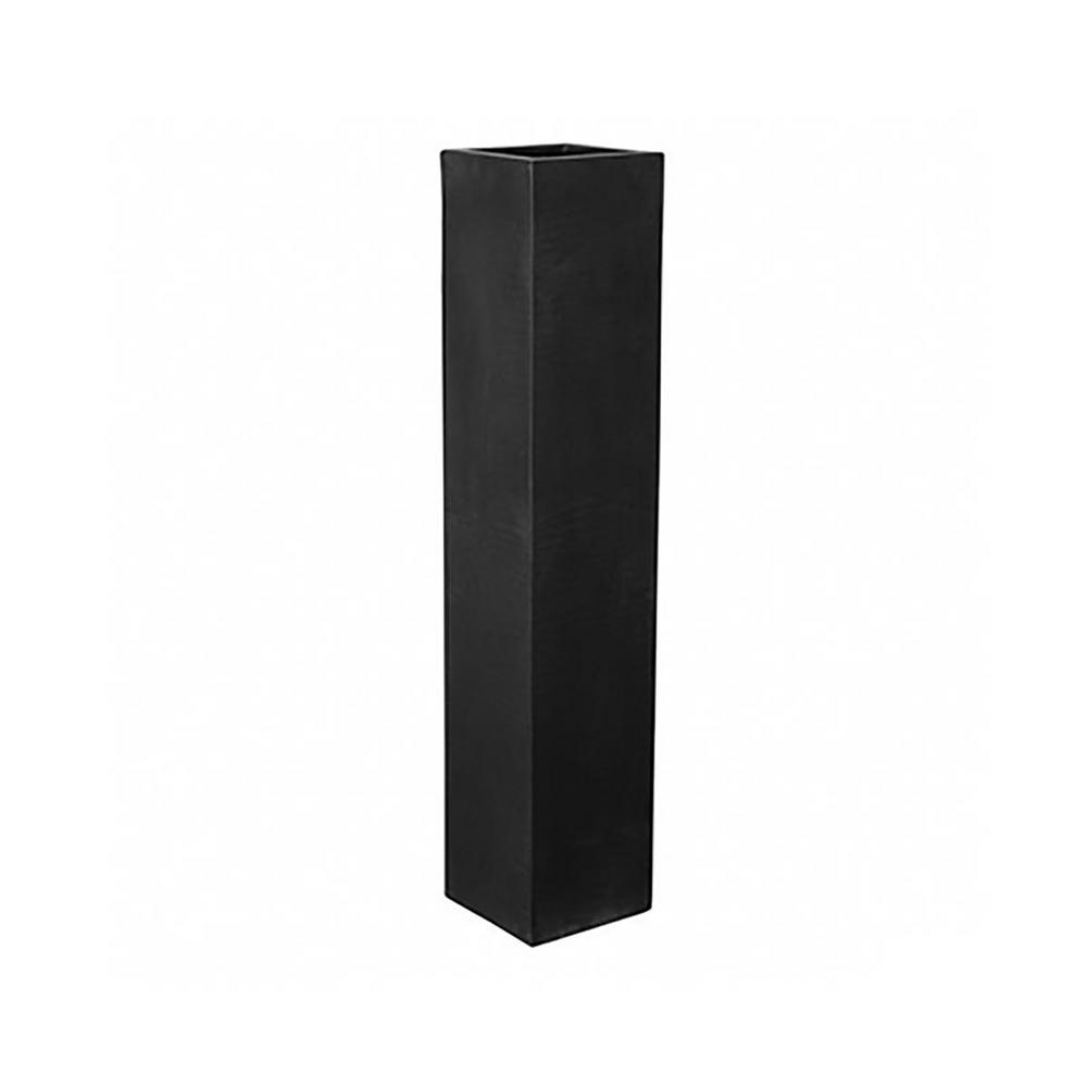10 in. x 49 in. Matte Black Large Fiberstone Square Pot/Planter