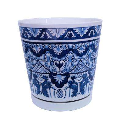8.75 in dia Blue Marovian Pot with Self Watering Saucer