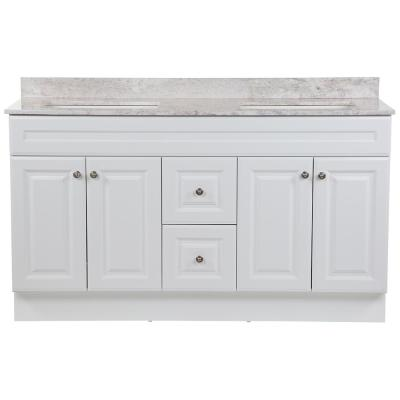 Glensford 61 in. W x 22 in. D Bath Vanity in White with Stone Effects Vanity Top in Winter Mist with White Sinks
