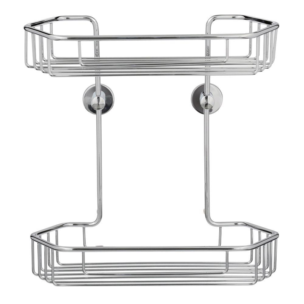 Draad Rustproof Solid Brass Shower Caddy 11 in. Double Shelf- Angled