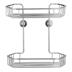 No Drilling Required Draad Rustproof Solid Brass Shower Caddy 11 inch Double Shelf- Angled... by No Drilling Required