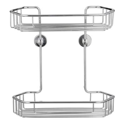 Draad Rustproof Solid Brass Shower Caddy 11 in. Double Shelf- Angled in Chrome