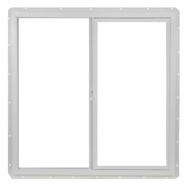 35.5 in. x 35.5 in. Utility Left-Hand Single Slider Vinyl Window Dual Pane Insulated Glass, and Screen - White