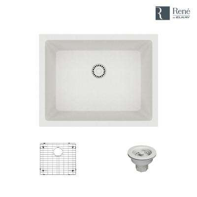 Dual-mount Composite Granite 21-5/8 in. Single Bowl Kitchen Sink in Ivory