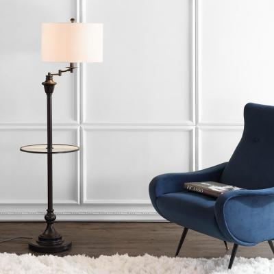 Cora 60 in. Metal/Glass LED Side Table and Floor Lamp, Oil Rubbed Bronze